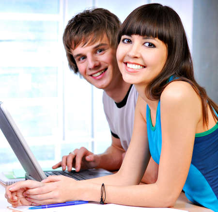 Two successful students looking at camera Stock Photo - 3918075