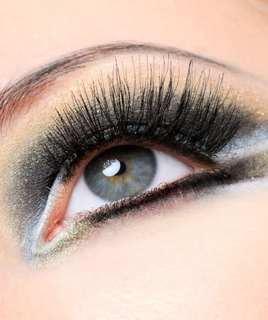 Creativity golden-brown modern make-up with long eyelashes Stock Photo - 3922293