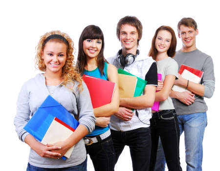 row of smiling students standing with books - white background