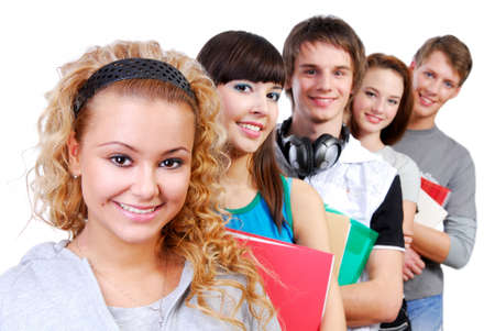Row of smiling classmates with attractive girl student on foreground. photo