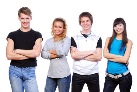 Row of young happy people. Isolated on white photo