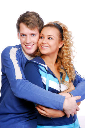 Young beautiful couples flirting. Two happy people photo