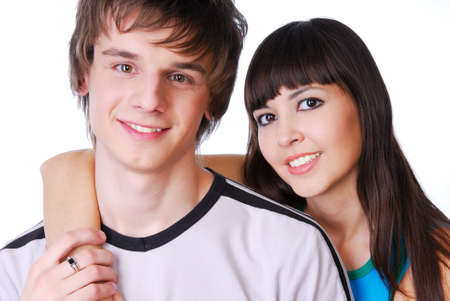 Portrait of two beautiful young adult boy and girl photo