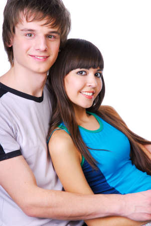 Portrait of two young adult beautiful people  photo