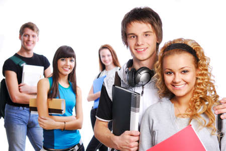 Cute clever couple on foreground. On background classmates Stock Photo - 4053696