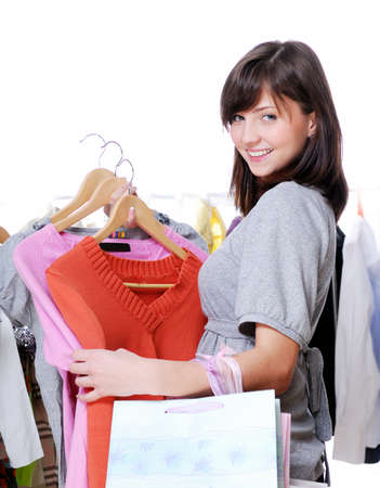 Happy woman shopping with bags in hands Stock Photo - 4053773