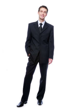 young adult  businessman standing against -  isolated white background