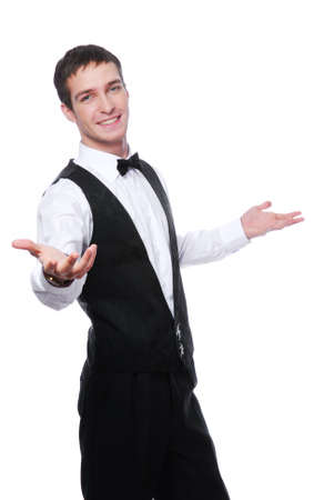 happy young waiter represent hospitality - on a white background Stock Photo - 4087714