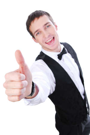 human male waiter showing sign okay - on a white background photo
