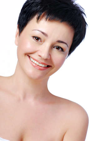 bare body women: Face of happy smiling beautiful mid adult woman