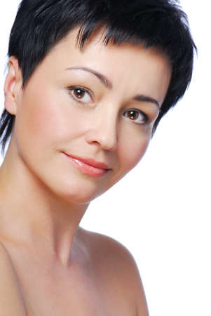 Portrait of beautiful brunette mid adult woman