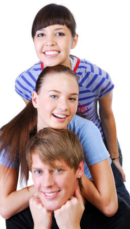 Row of a three happy friends having fun isolated on a white background photo