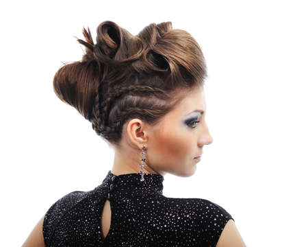 Side view of  woman with style hairstyle - isolated on white Stock Photo