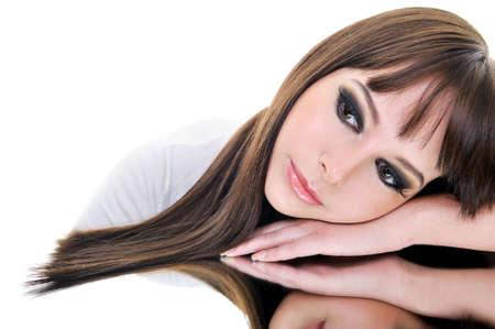 Portrait of beautiful brunette woman face Stock Photo - 4344416