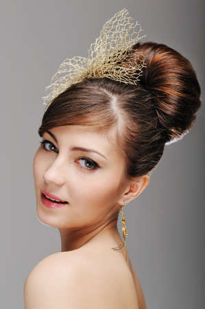 Portrait of woman face with styling hairstyle photo