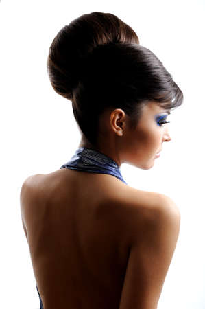 bare women: Rear view of woman with beautiful fashion hairstyle Stock Photo