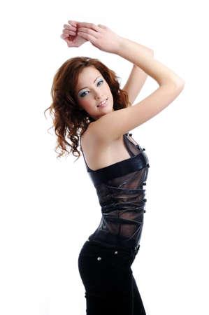 Beautiful female fashion model pose on white background Stock Photo - 4374715