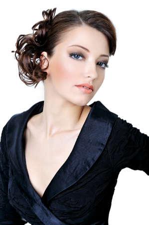 f�minit�: Belle femme � la beaut� caucasian face regardant la cam�ra Banque d'images