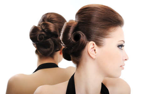 profile view: Profile view of beauty curly hairstyle - isolated on white Stock Photo