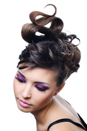 Fashion hairstyle and bright stylish make-up photo