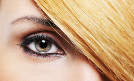 Close-up woman eye with creative make-up and hairstyle