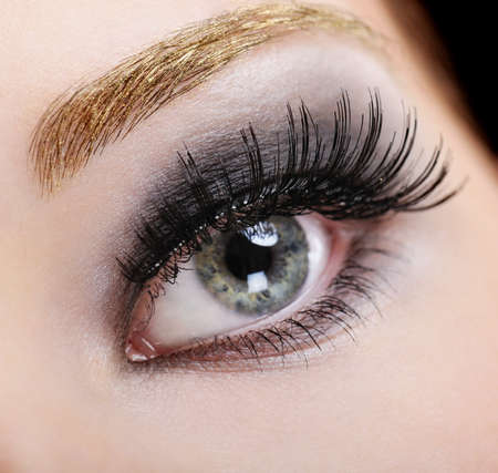 eye lashes: Womans eye with bright fashion make-up and black false eyelashes