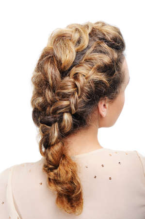 ringlet: Pigtail - Rear view of modern female hairstyle  isolated on white.