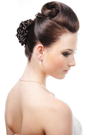 Modern wedding hairstyle - isolated on white Stock Photo