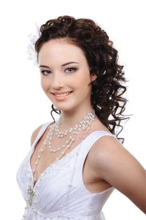 elegancy: Portrait of beautiful happy young bride Stock Photo