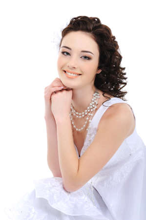 elegancy: Portrait of happy young bride on white background