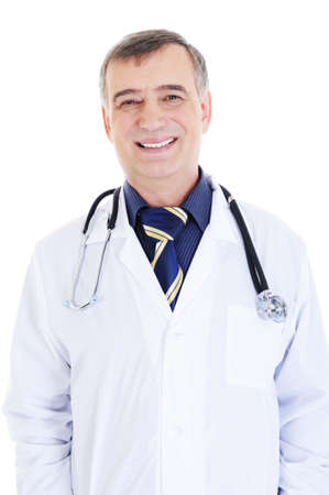 portrait of happy cheerful successful male doctor with stethoscope photo