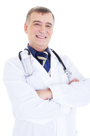 portrait of happy smiling male doctor with stethoscope photo