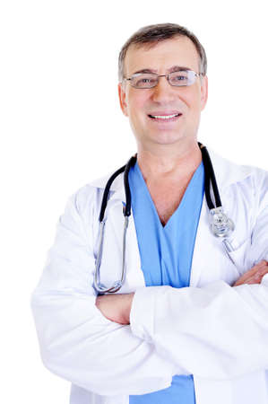 portrait of successful laughing male doctor with stethoscope photo