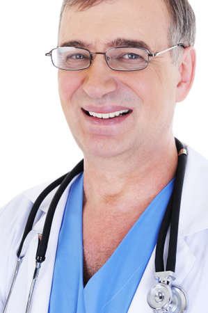 close-up portrait of laughing cheerful mature male doctor photo