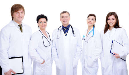 diversity team of five happy successful doctor standing together   photo