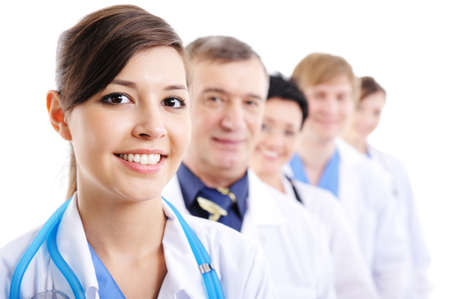 portrait of laughing cheerful doctors faces taking line - isolated Stock Photo