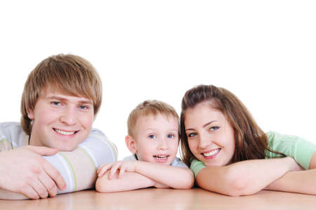 faces of young laughing happy family with their little son Stock Photo - 4565663