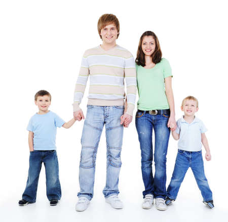 unity of happy loving young family holding each other hands  photo