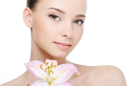 nice beautiful clean health female face close-up - white background Stock Photo - 4593768