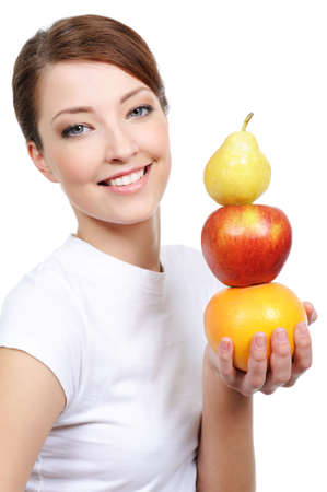 beautiful female portrait with representation of fruits - isolated photo