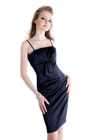 beautiful teenager young girl in black elegant dress  photo