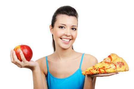 portrait of young woman with pizza and red apple  Stock Photo - 4660568