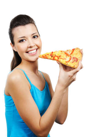 1 person: retrato de joven mujer con pedazo de pizza Foto de archivo