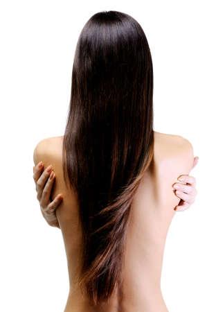 capelli lisci: vista posteriore slanciata del giovane donna bellissima con i capelli lunghi rettilinei Archivio Fotografico