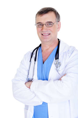 portrait of laughing successful male doctor with eyeglasses and stethoscope photo
