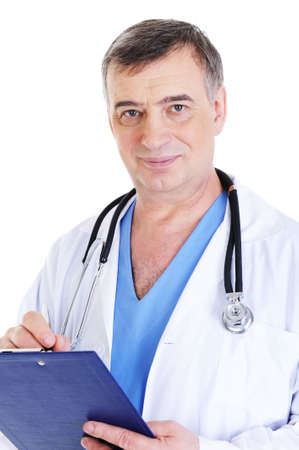 handsome mature male doctor working - white background photo