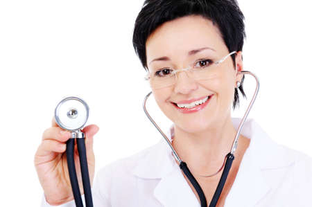 close-up portrait of laughing cheerful female doctor with stethoscope photo