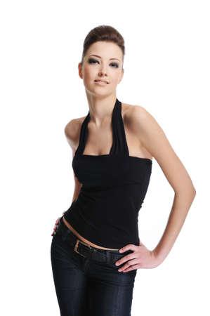 elegance: Beautiful female fashion model posing - isolated on white