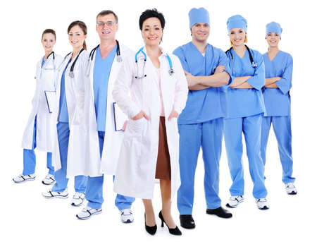 happy smiling doctors and surgeons - isolated on white background photo