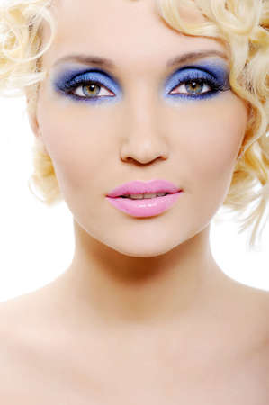 portrait of beautiful  young woman with shine blue make-up Stock Photo - 4850739